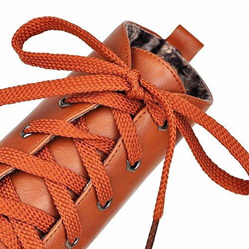 Latasa Kvinna Avslappnad Snörning Chunky Låg Häl Plattform Boots Gul