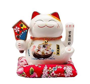 Maneki Neko Porcelana Gato de la Suerte Afortunado Gato agitando el Brazo Waving Arm Lucky bendición,Blanco L16*W14*H16cm, A: Amazon.es: Hogar