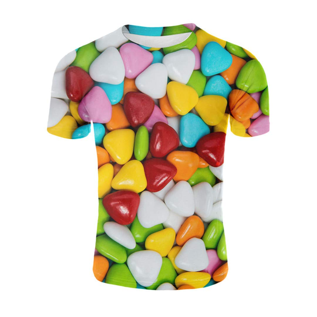 Summer Heart-Shaped Candy Chocolate Sugar T-Shirt Color Candy Funny T Shirt