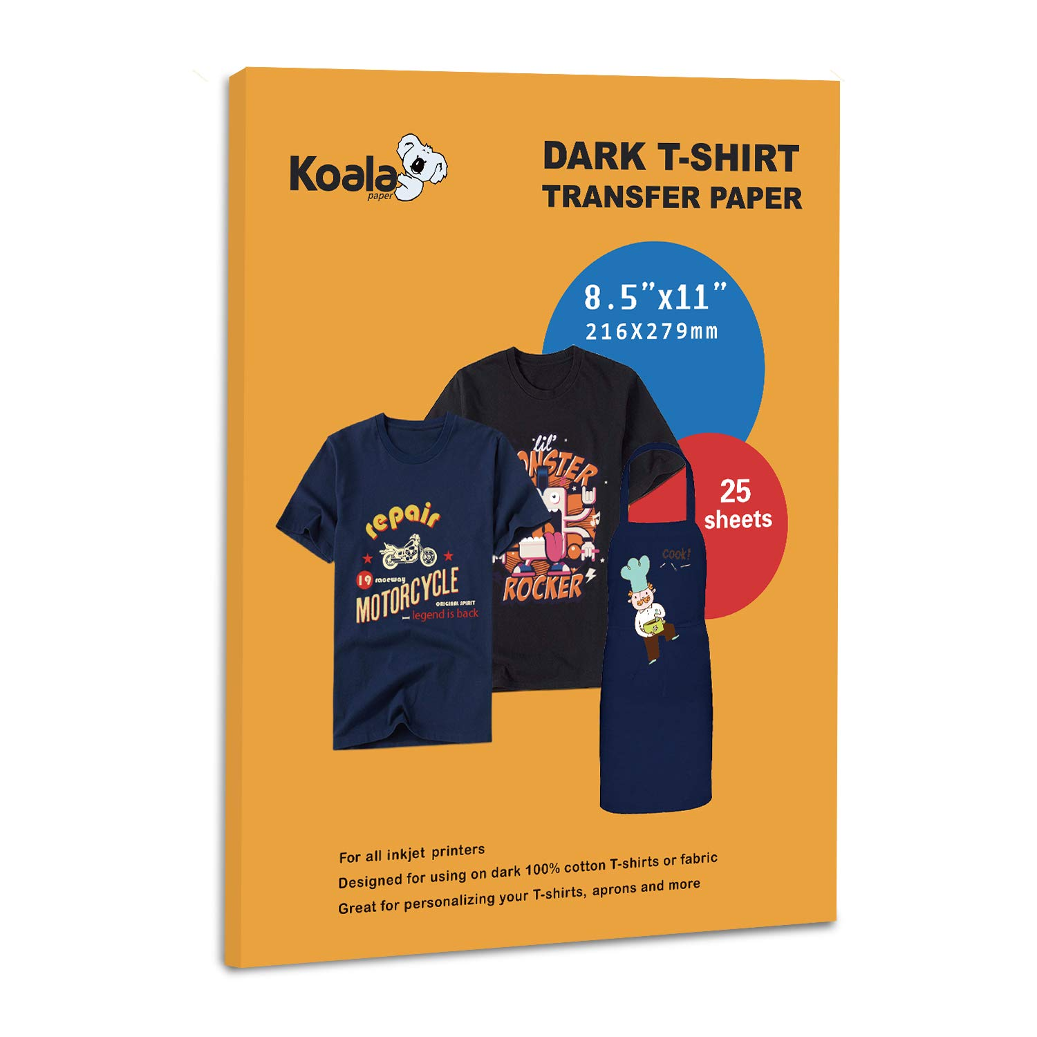 Koala Paper 25 Sheets Iron-On Dark T Shirt Transfer Paper 8.5x11 inch Letter Size Compatible with All Inkjet Printer