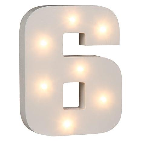 Wood White OOTB Illuminated Letter S Light with 7 LED