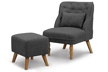 Homgrace Design Sessel Stoff Stuhl Retro Lounge Sessel Holz Design