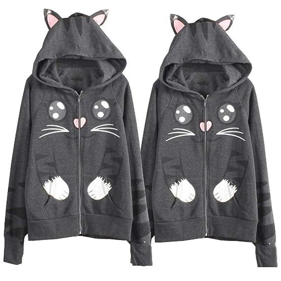Linlink Mujeres Sudadera con Capucha de Manga Larga Cat Impresa Camiseta suéter Blusa Chaqueta de Abrigo: Amazon.es: Ropa y accesorios