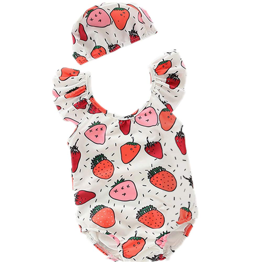 Size : 11 FeliciaJuan Kids Beach Sport Banded One Piece Swimsuit Girls Round Neck Strawberry Swimsuit