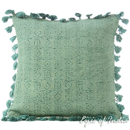 """Eyes of India - 16"""" Green Cotton Decorative Pillow Dhurrie Tassels Cushion Cover Sofa Couch Throw Bohemian Indian Colorful Boho Cover ONLY"""