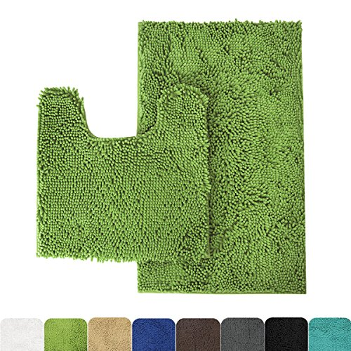 MAYSHINE Bathroom rug toilet sets and Shaggy Non slip Machine washable Soft Microfiber bath Contour mat (Green,32″ 20″/20″ 20″ U-Shaped)