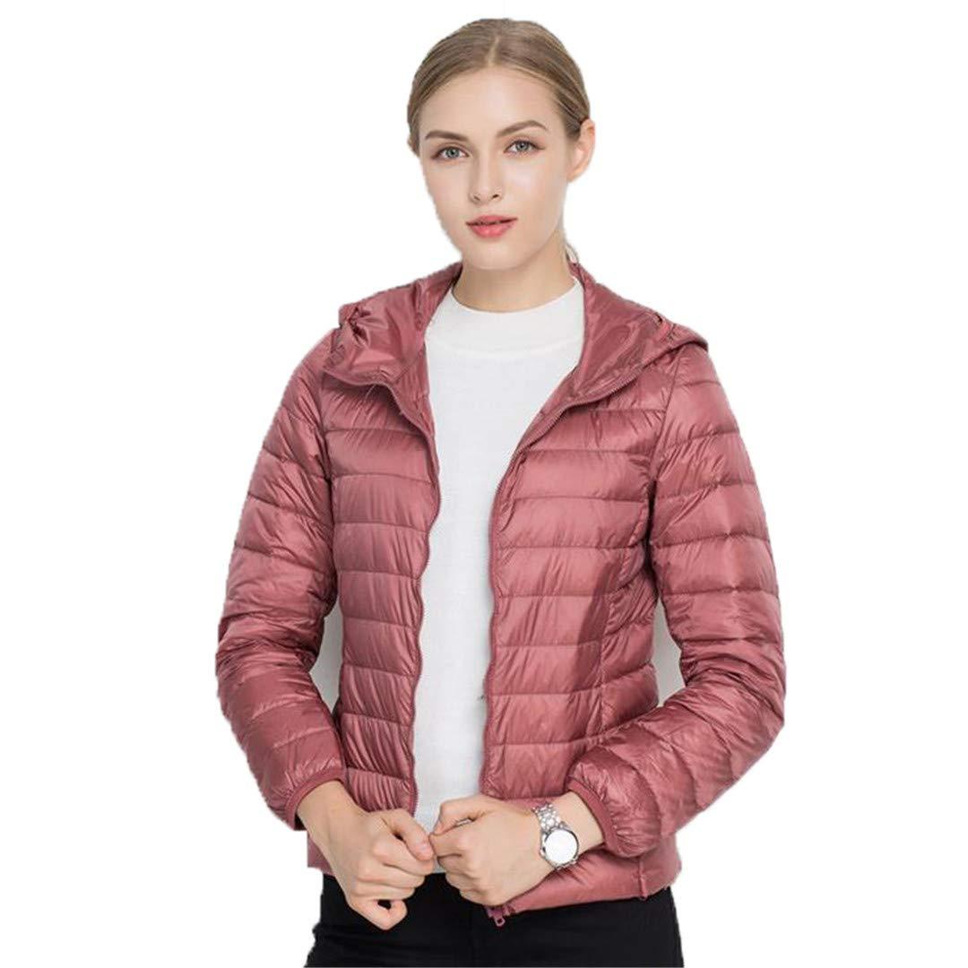 Dark Pink BiBOONES Winter Women's 90% Duck Down Hooded LongSleeved Warm UltraLight Down Jacket