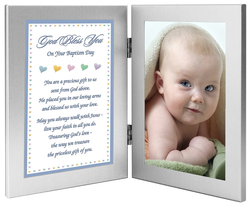 Add Photo to Double Frame Baptism Gift for Baby Boy