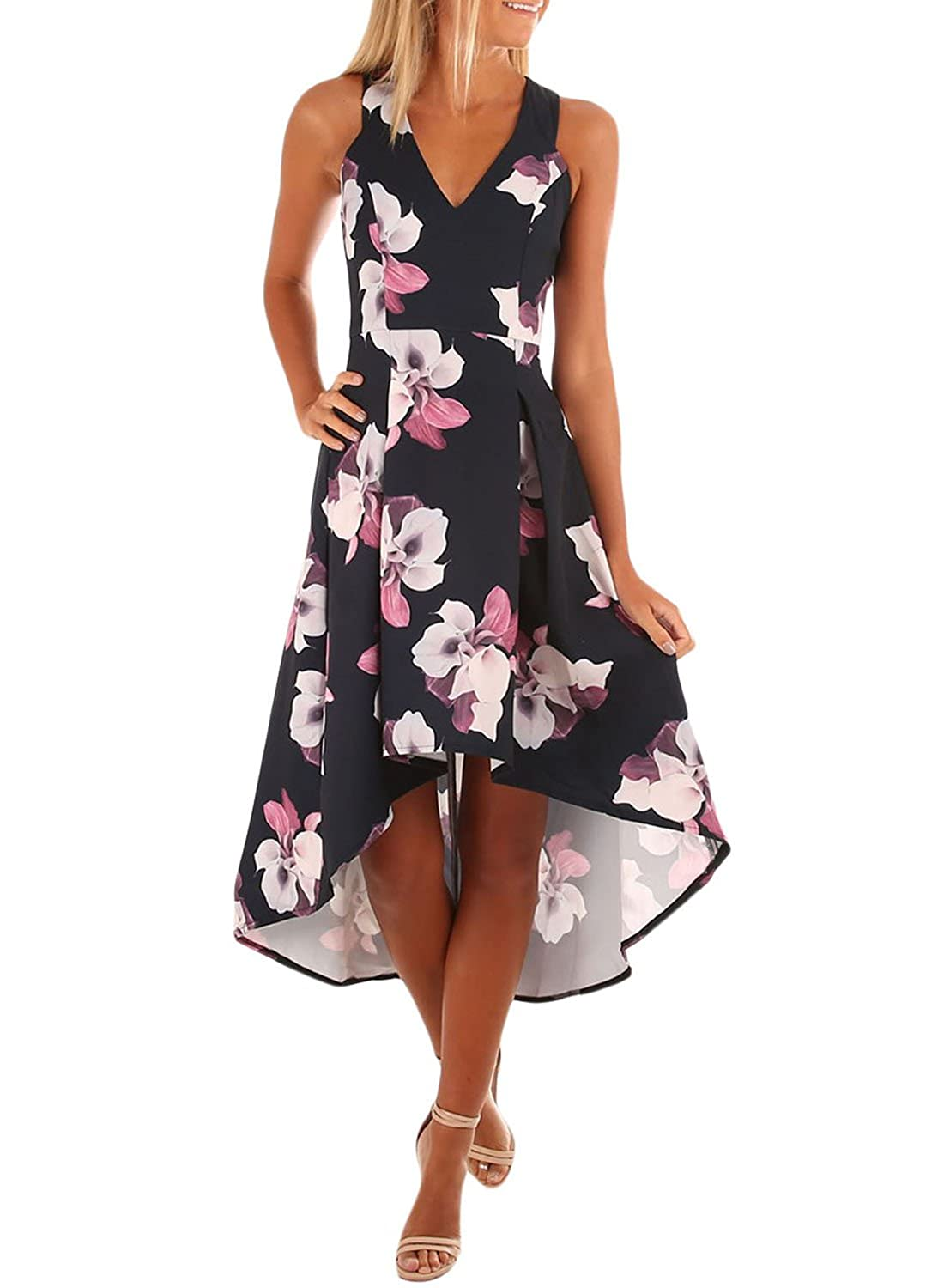 780845d9672 ZKESS Women s V Neck Sleeveless Floral Print High Low Midi Party Dress at  Amazon Women s Clothing store