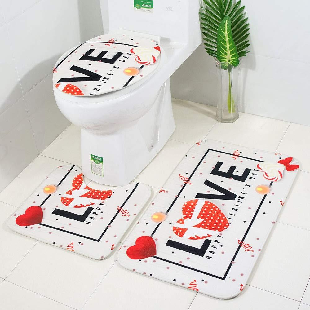 TechCode Toilet Sets, 3 Pieces Home Decor Bathroom Sets Flannel Variety Pattern Dust Carpet Non-Slip Kitchen Carpet Doormats Soft Shower Bath Rugs Accessories + Bathroom Mat + U-Shaped Rug -06