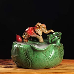 Water Fountain Indoor Decoration,Elephant Statue,Relaxation Fountain,Zen Meditation Tabletop Fountain for Office Home Green A 13inch