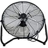 UBRTools 20 High Velocity Floor Fan 3 Speed with Tilt Stand Black, Indoor Portable Fan