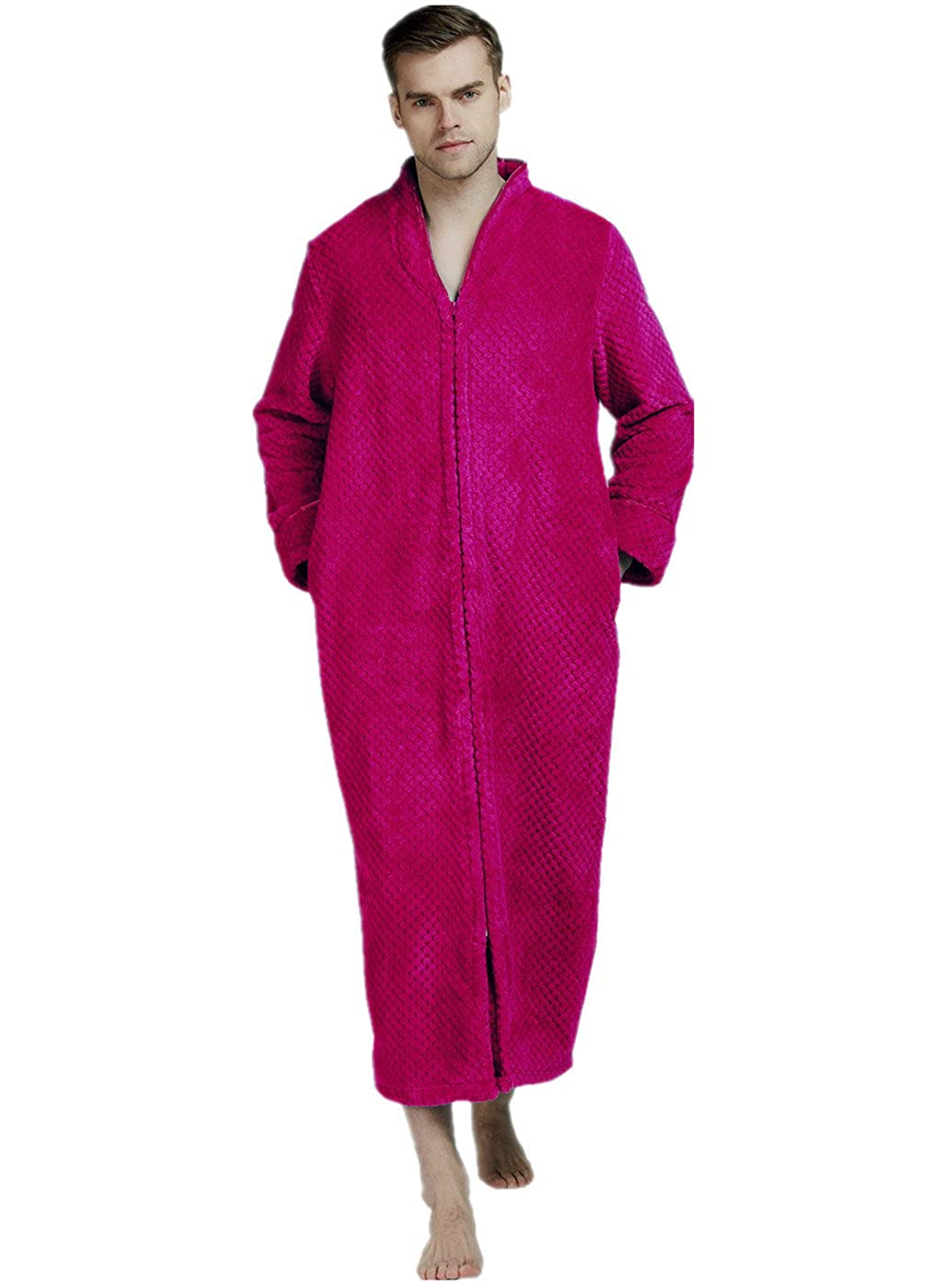 Soft Zip-Front Bathrobe Full Length Long Sleeve Sleepwear Spa Bathrobe VERNASSA Mens Fleece Robe