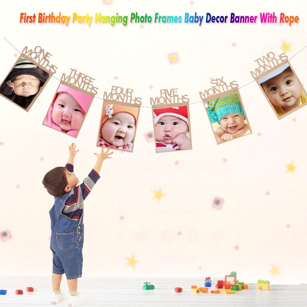 12 Monate Baby Bilderrahmen Geburtstag Dekoration Fotorahmen ...