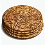 "Trivets for Hot Dishes-Insulated Hot Pads,Durable Pot holder for Table,Coasters, Pots, Pans & Teapots,Natural Rattan Heat Resistant Mats for Kitchen,Set of 4, 7.08"" Round"