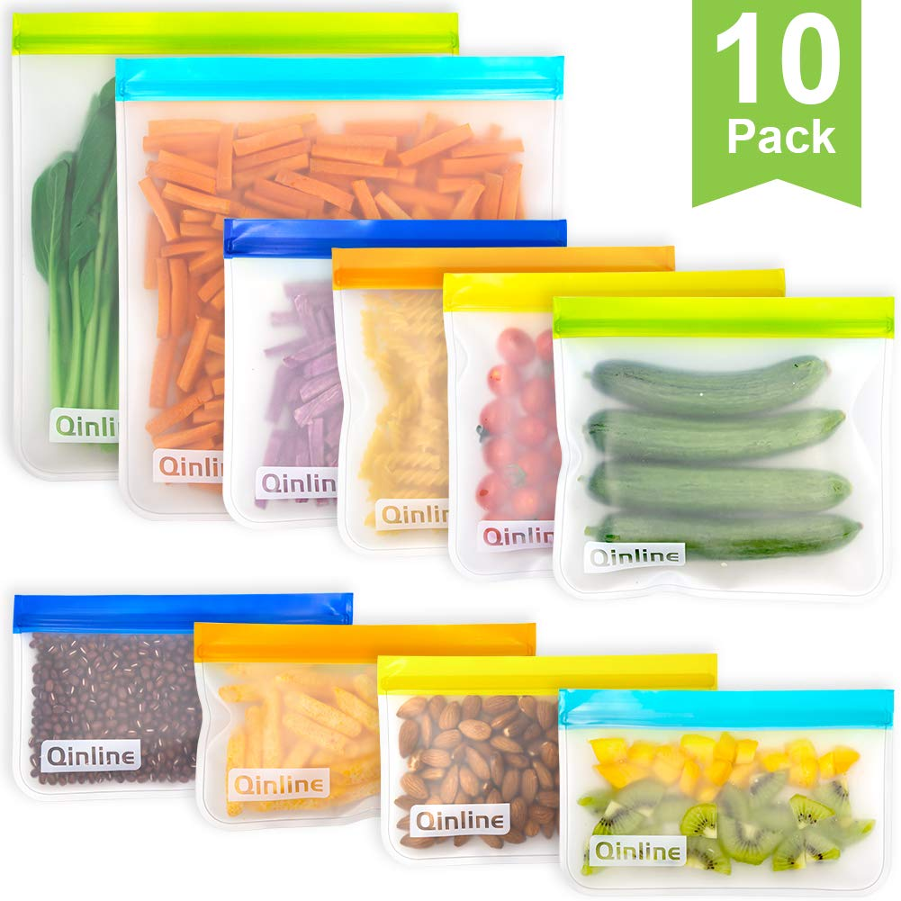 Reusable Storage Bags - 10 Pack Leakproof Freezer Bags(2 Reusable Gallon Bags + 4 BPA FREE Reusable Sandwich Bags + 4 Reusable Snack Bags) Ziplock Lunch Bag for Food Marinate Storage Home Organization