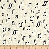 Kanvas The Music In Me 3/4 Time Cream/Black Fabric By The Yard