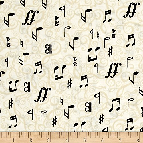 Music Fabric - Kanvas The Music In Me 3/4 Time Cream/Black Fabric By The Yard