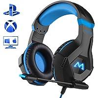 Mpow EG9 Stereo Cuffie Gaming PC con Fantastica RGB Luce,Cuffie Gaming PS4 OverEar con Comodo Ccuscino e led spia Microfono Flessibile,Audio Cavo 3.5mm e comando,Compatibilità:PS4/PC/Xbox/NS/Cellulare