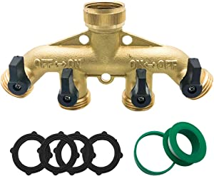 Troffea Garden Hose Splitter 4 Way - Brass Faucet Splitter Garden Hose Quick Connect with 4 Gaskets and Tape