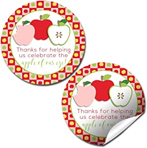 Apple of My Eye Baby Sprinkle Baby Shower Thank You Sticker Labels for Girls, 40 2