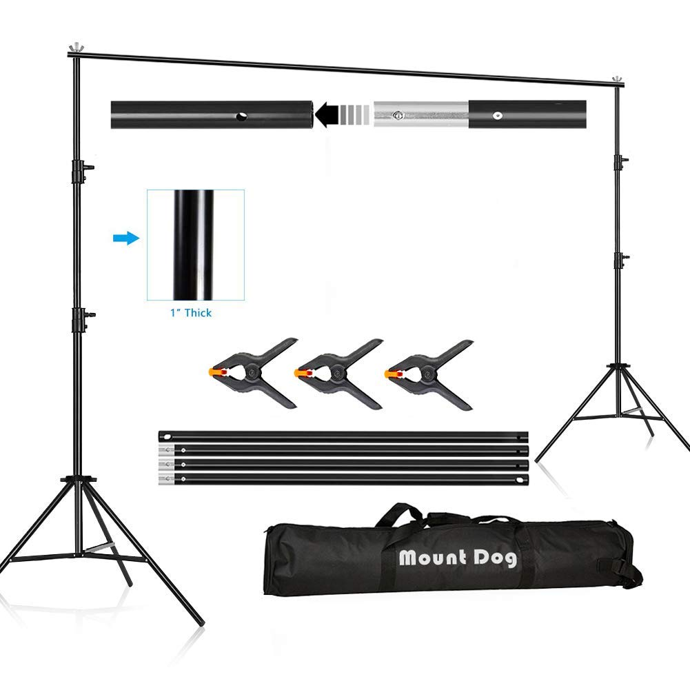 MOUNTDOG Photography Backdrop Background Stand 10ft Backdrop Support System Kit Photo Video Studio Adjustable Heavy Duty with Carrying Bag