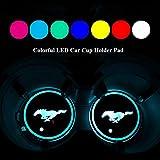 YenCar 車用 LED ドリンクホルダー レインボーコースター 車載 ロゴ ディスプレイライト LEDカーカップホルダー マットパッド (マスタングMustang)