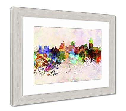 Amazon.com: Ashley Framed Prints Cincinnati Skyline In Watercolor ...