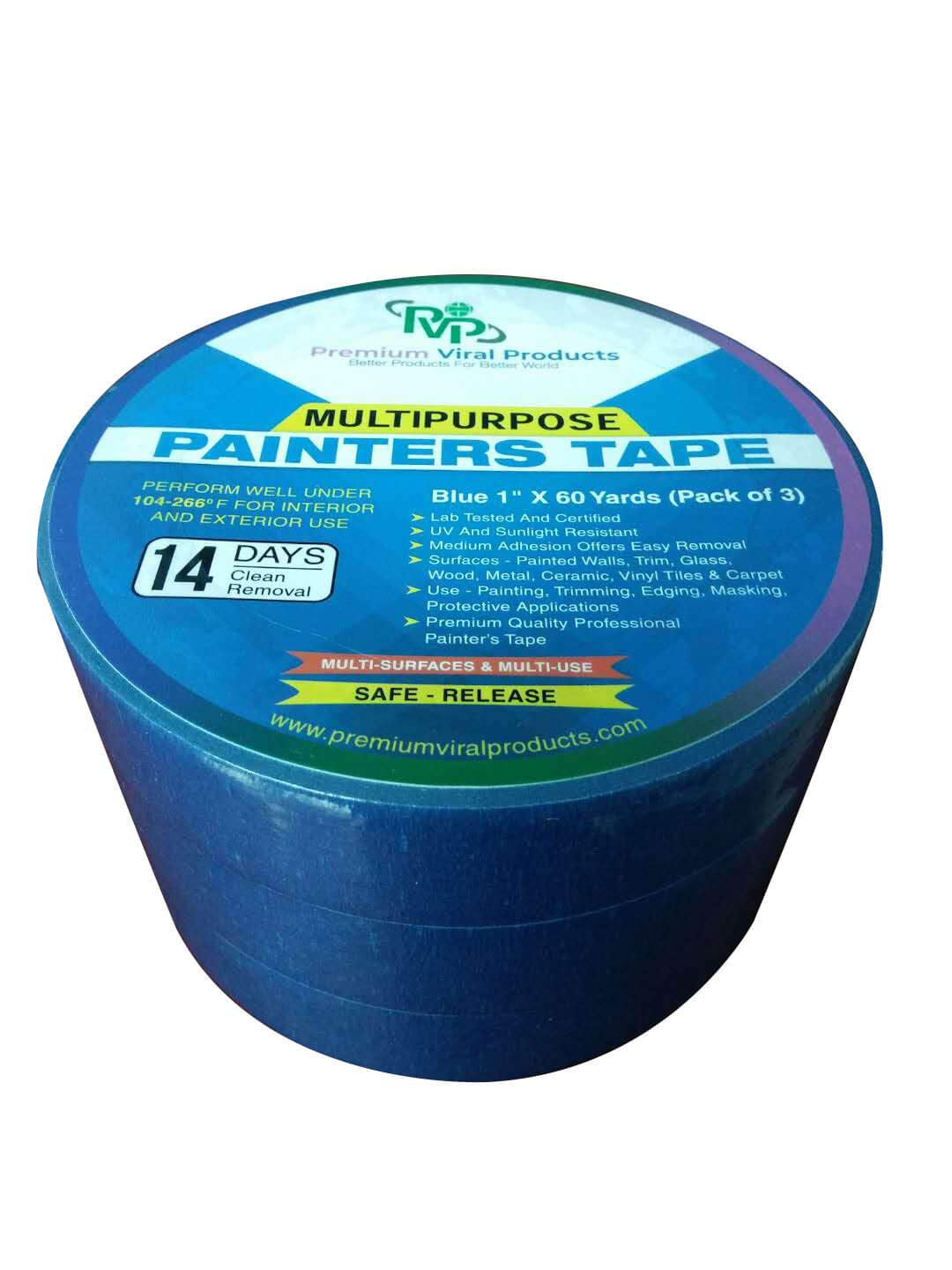 """PVP Professional Grade 1""""x60 Yard Pack of 3 Multi USE Blue Painters Tape/Masking Tape-Premium Quality Tape Total 180 Yard