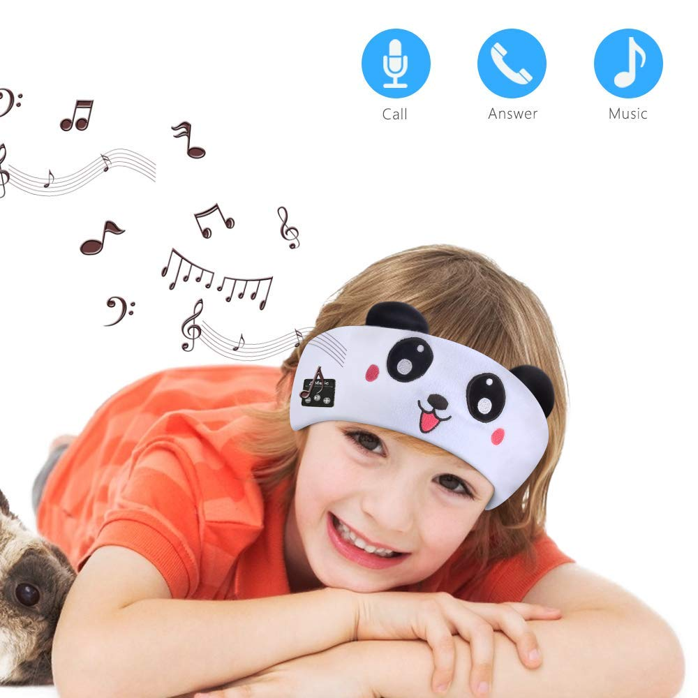 INTSUN Kids Headband Headphones, Wireless Sleep Mask for Boys Girls Blututh Headphone with Rechargeable Battery, Mic Speaker, Volume Limited, Perfect for School, Home, Travel