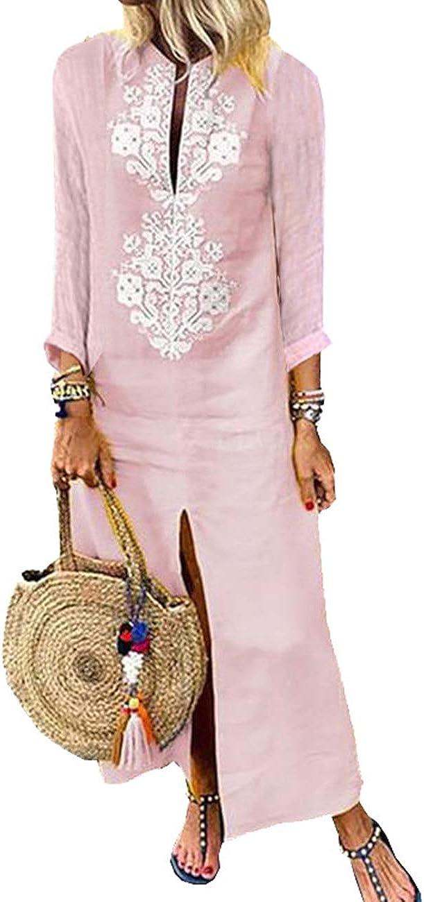 desenfadado de algod/ón estilo retro vestido de verano ancho y elegante Vestido para mujer de manga larga Hahaemma de lino