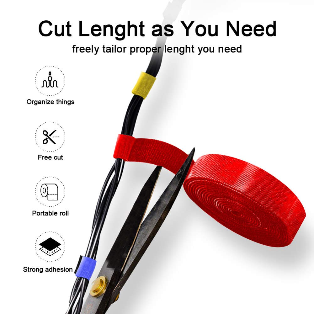 Multicolor Cable Organizer Wire Winder Clip Earphone Holder Mouse Cord Protector HDMI Cable Management USB Cable Home Storage (Red)