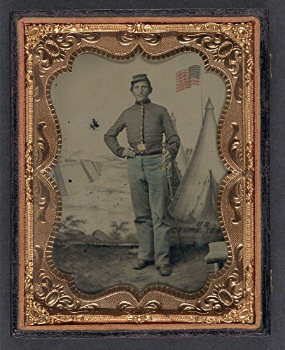 Historic Photos Unidentified soldier in Union uniform with cavalry saber in front of U.S. Picture Tent painted backdrop