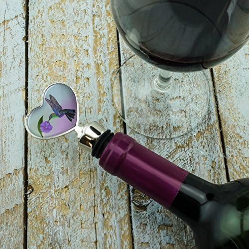 Hummingbird Crowned Woodnymph Purple Violet Heart Love Wine Bottle Stopper