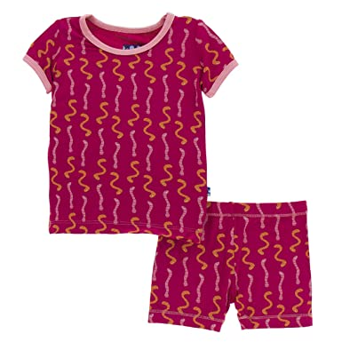 cba58c211f3f Kickee Pants Cancun Print S/S Pajama Set with Shorts - Rhododendron Worms,  2T