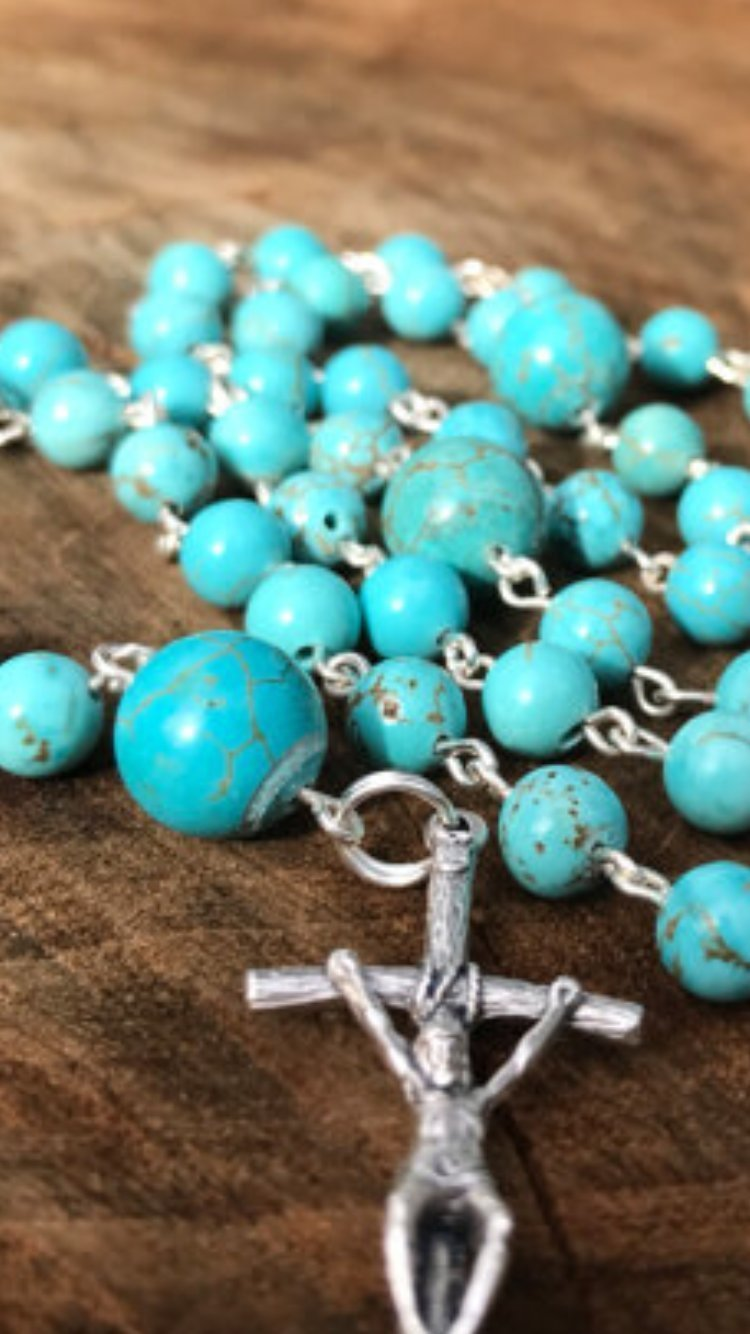 Turquoise Catholic Rosary Beads with Mary Centerpiece and Papal Crucifix Semi Precious Stone Beads