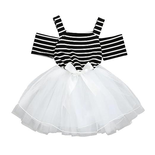 eb8ae40e3 Amazon.com  Toddler Baby Girls Summer White Black Stripe Off ...