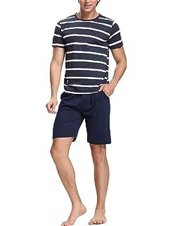 Aibrou Pijamas Hombre Verano Corto Algodón Casual Moderno,Suave,Cómodo y Agradable