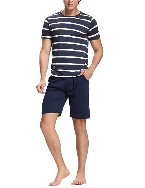 Aibrou Pijamas Hombre Verano Pantalon Manga Corto 2 Piezas,Suave Comodo y Agradable