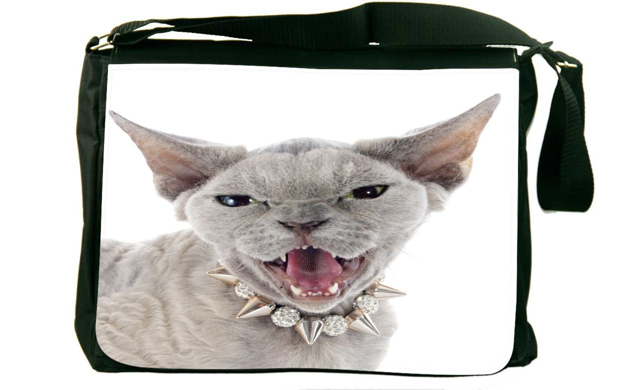 Rikki Knight Devon Rex Cat With Angry Expression Messenger Bag School Bag
