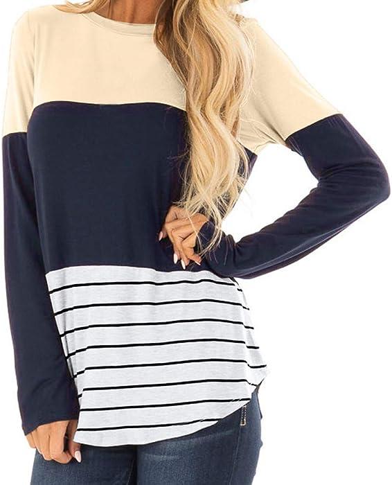 e4a55741a32b10 2018 Herbst Winter Frauen Casual Gestreiften O-Ausschnitt Langarm Spitze  Patchwork Damen Tops Bluse Shirt