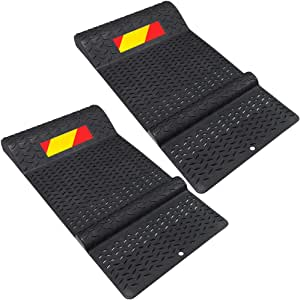 Electriduct Pair of Plastic Parking Mat Guides for Garage Vehicles, Antiskid Car Safety Park Aid - Black