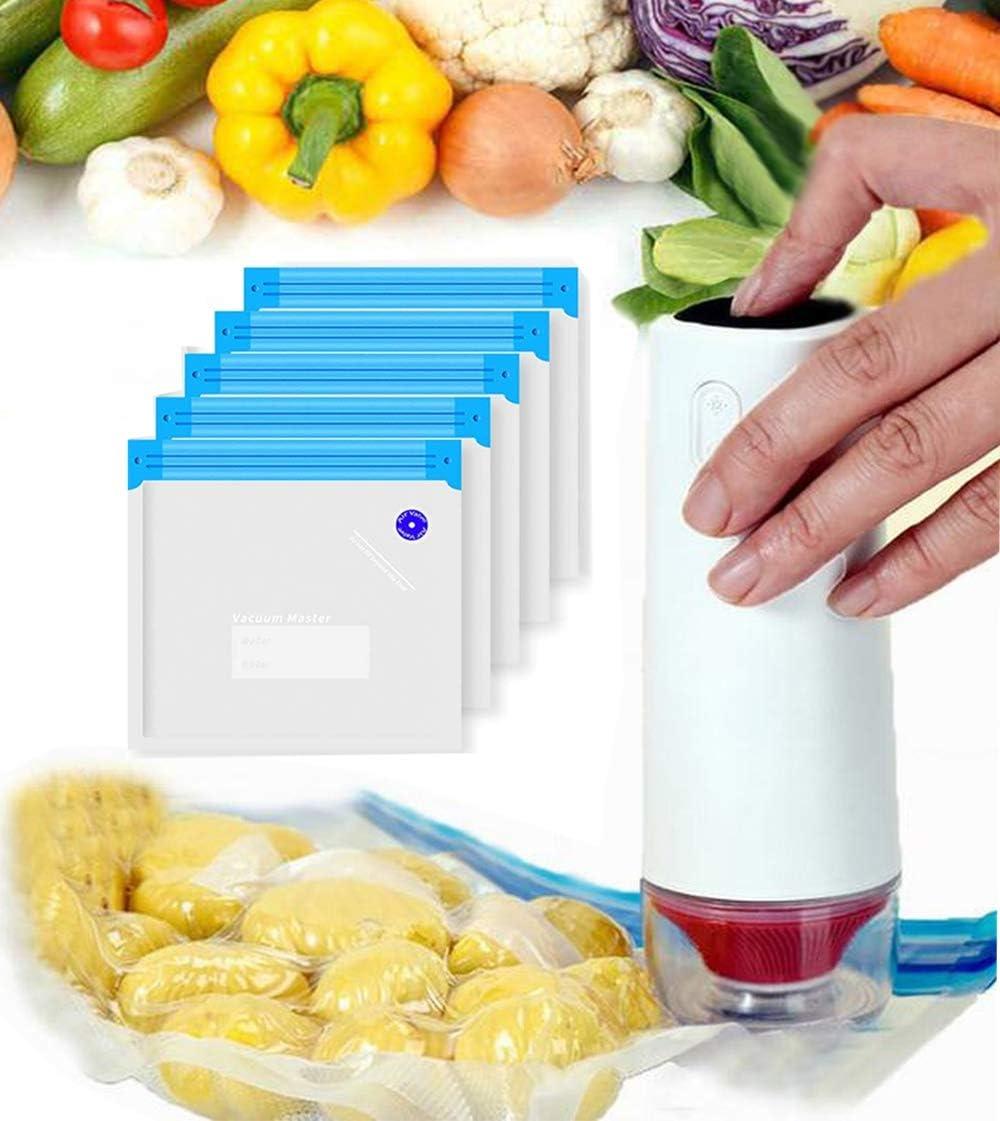 Vacuum Sealer Machine,5Pcs Reusable Food Vacuum Sealer Bags for Kitchen Food Preservation, Rechargeable Food Vacuum Sealer,Practical for Food Storage & Sous Vide Cooking(Vacuum Sealer Machine)