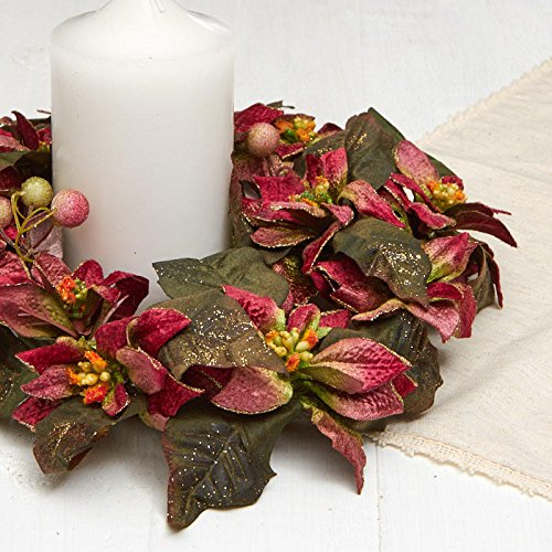 (Factory Direct Craft Artificial Poinsettia and Berry Candle Ring | 2 Pieces)