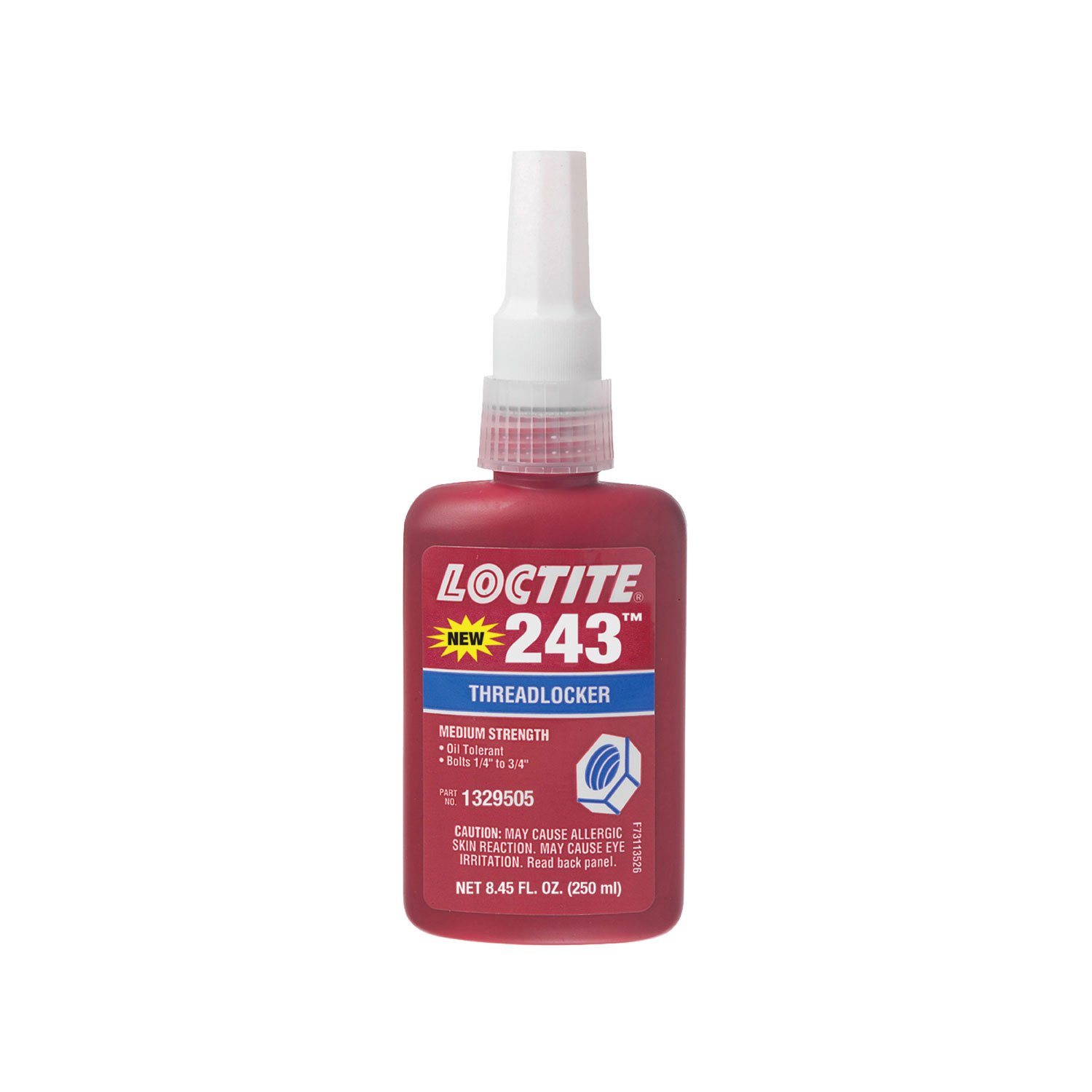 Loctite 1329505 Blue 243 Medium Strength Threadlocker, 360 Degree F Maximum Temperature, 250 mL Bottle