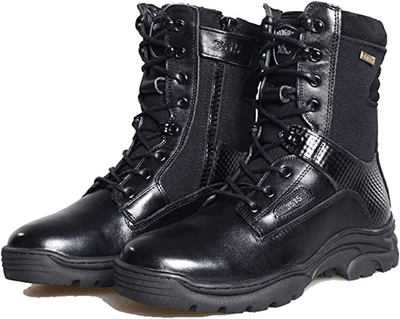 GOAIJFEN Bota de Combate para Hombre Botas de Cuero Botines Militares Fuerzas Especiales Botas de Seguridad tácticas Botas de Patrulla de la policía Ligeros Zapatos del ejército: Amazon.es: Deportes y aire libre