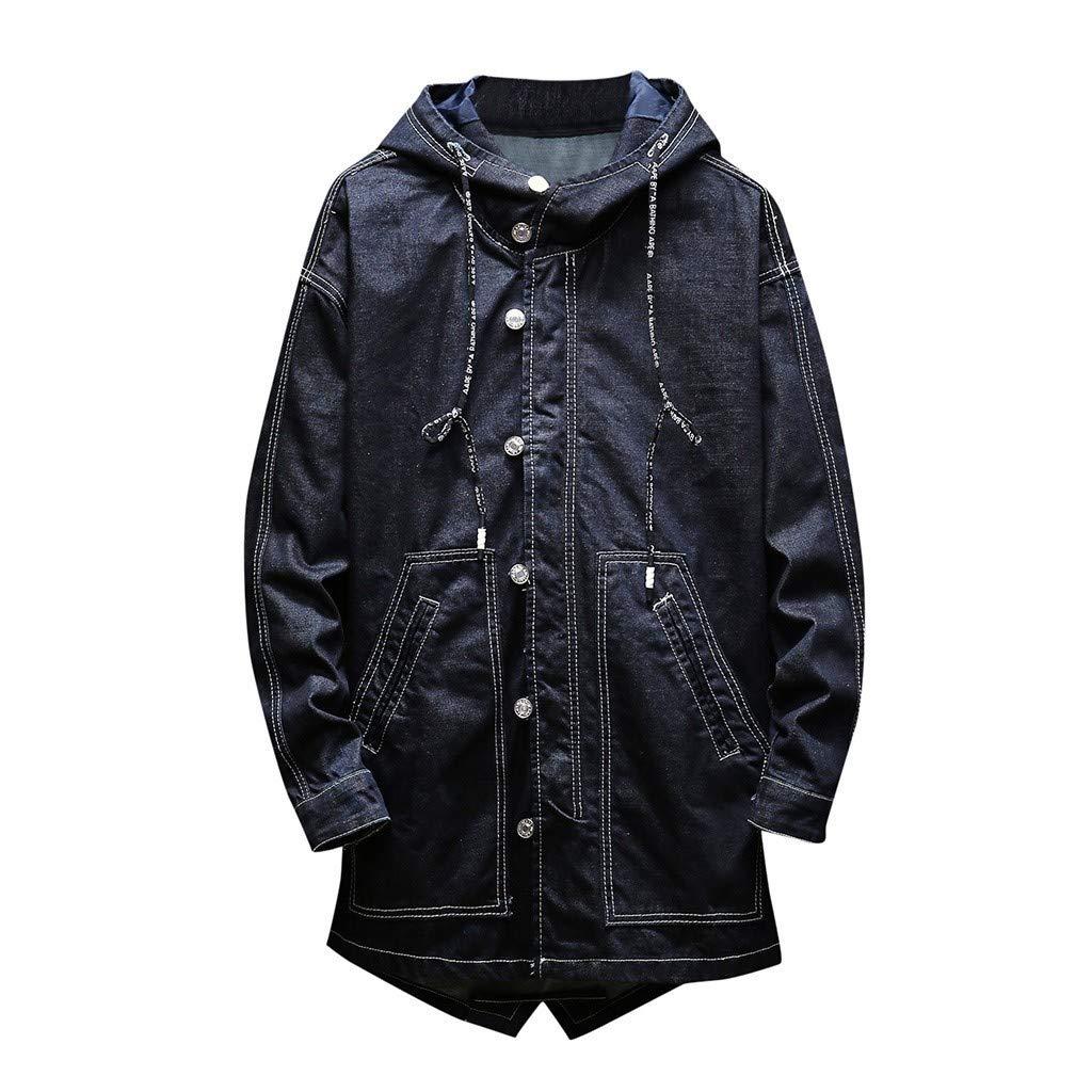 Men's Plus Size Turn-Down Collar Hooded Denim Jacket Coat Autumn Winter Casual Retro Long Sleeve Blouse Outwear Daorokanduhp