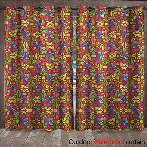 WilliamsDecor Colorful 0utdoor Curtains for Patio Waterproof Stained Glass Style Pattern with Flower Motifs Geometrical Star Shapes Mosaic Tile W96 x L108(245cm x 274cm) -