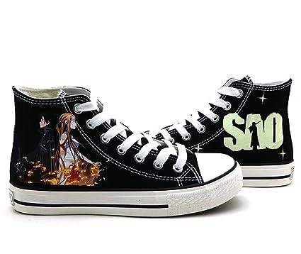 eea6ae50b799 Telacos SAO Sword Art Online Cosplay Shoes Canvas Shoes Sneakers
