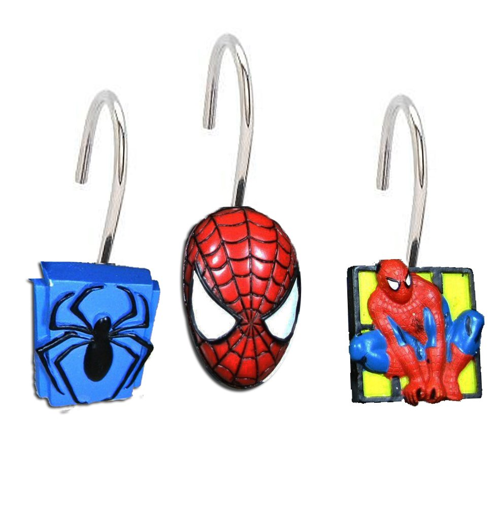 Amazon.com: Set of 12 the Amazing Spiderman Shower Curtain Hooks ...